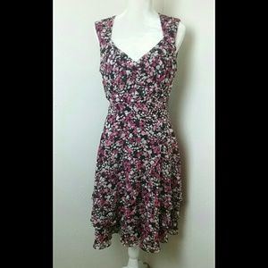WHBM Floral Fit n Flare Cut Out Back